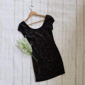Black Sequined Bodycon Dress - Divided